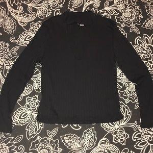Black Jersey Crop Sweater with Plunge neckline